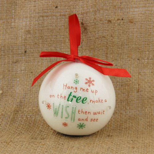 LED Light Up Christmas Wishing Bauble -Inspirational personalised Christmas Tree decoration